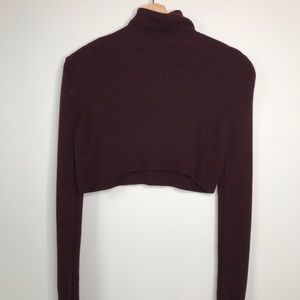 TOPSHOP BURGUNDY TURTLE NECK CROPPED BOXY SWEATER